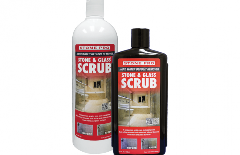 stone and glass scrub hard water deposit remover